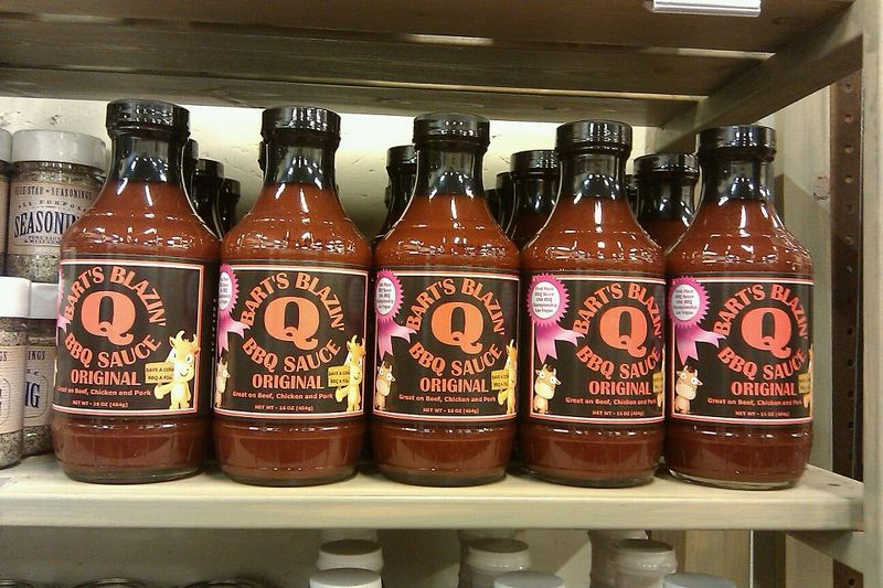 BBQ Sauce on Shelf at Green Leaf BBQ 10-13-11
